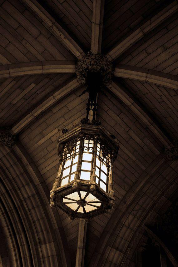 Photograph Neutral Sepia Gothic Hanging Pendant Light Lantern Chandelier In Historic Ottawa Parliament Building Art Print Home Decor By Henatayebphotography