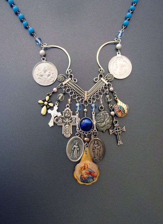 Religious Charm Necklace Vintage Medals -  You can wear multiple vintage religious charms at once!