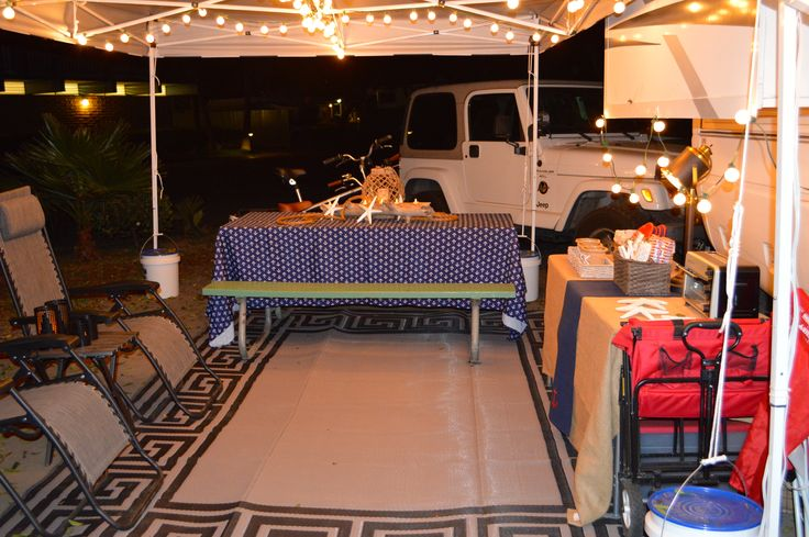 Adding a canopy outside the RV gives additional covered eating and seating space.