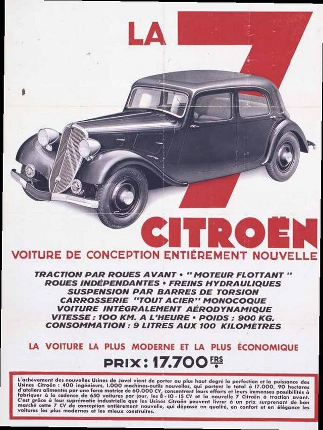 Citroën Traction Avant.  Affiche publicitaire du lancement de la 7, printemps 1934