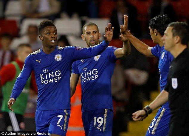 Demarai Gray (left) scored once and Islam Slimani (centre) bagged a brace on Tuesday night