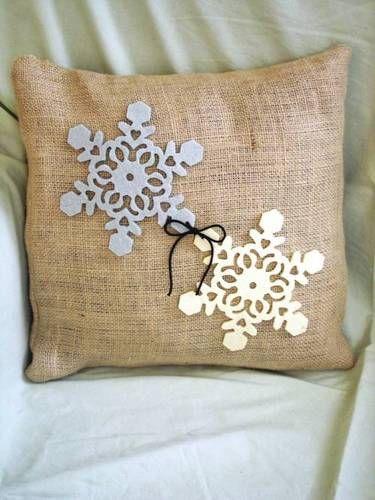 DIY Rustic Burlap Snowflake Pillows