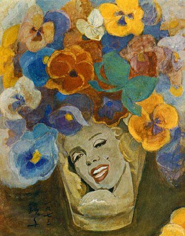 (Korea) Pansy 1973 by Chun Kyung-ja (1924- 2015). Oil on canvas. 천경자. 팬지.