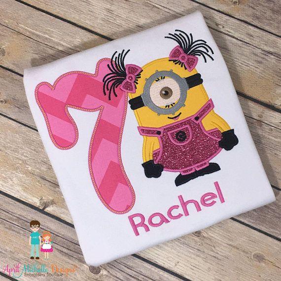 Girls Minion Shirt, Birthday Personalized Minion, Pink Minion, Girls Appliqued Shirt, Girls Minion Birthday Shirt, Girls Despicable Me