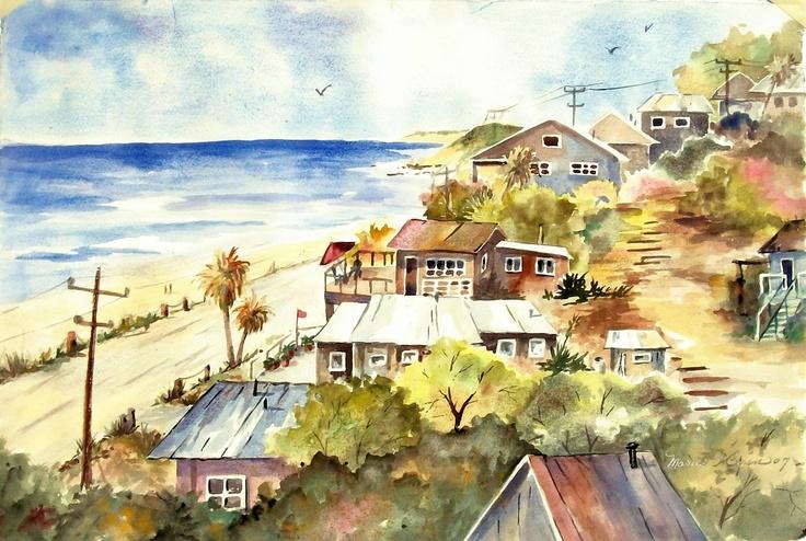 Watercolor of Crystal Cove, Ca