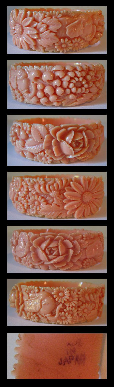 VIntage carved coral bangle