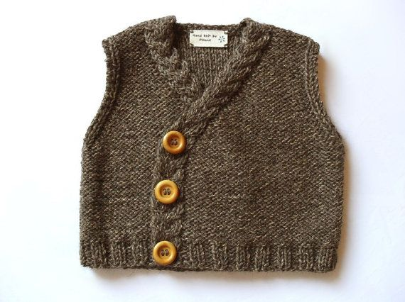 Handknit Baby Vest Knit Tweed Waistcoat- Eco Friendly Merino extrafine sweater Alpaca knit vest Brown tweed knit sweater 6-9month. $45,00, via Etsy.