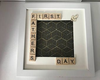 First Father's Day Scrabble Frame. Perfect Fathers Day Gift