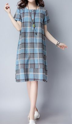 Women loose fit over plus size retro plaid checkers dress pocket tunic pregnant #Unbranded #dress #Casual