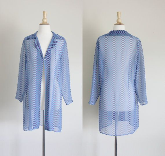 1990s Blue Striped Semi Sheer Duster Jacket by apotheosisvintage