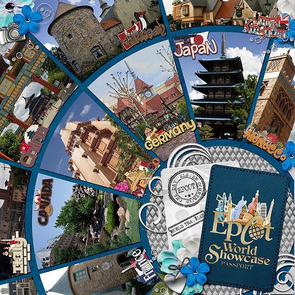 Around The World Showcase Disney vacation scrapbook page layout idea