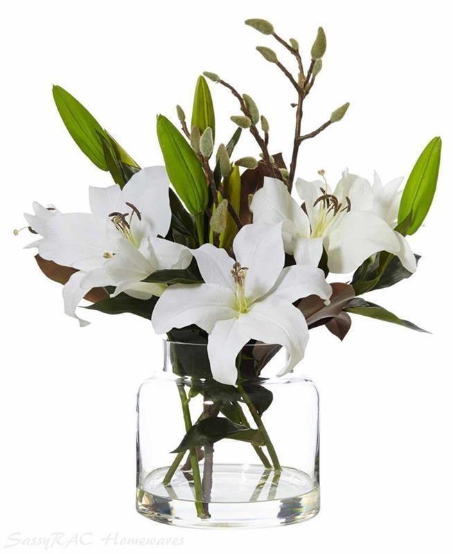 Artificial Flower Arrangement Fake Oriental Lillies Wedding Flower Indoor Plants Decor