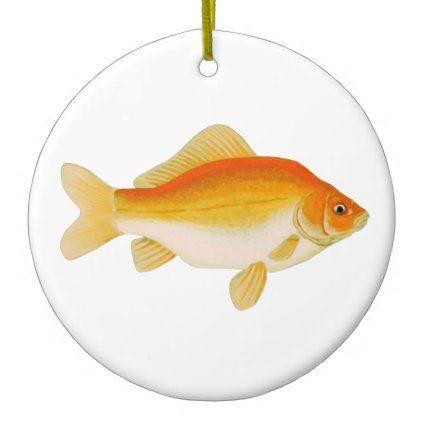 Common Goldfish Ceramic Ornament - gold gifts golden diy custom