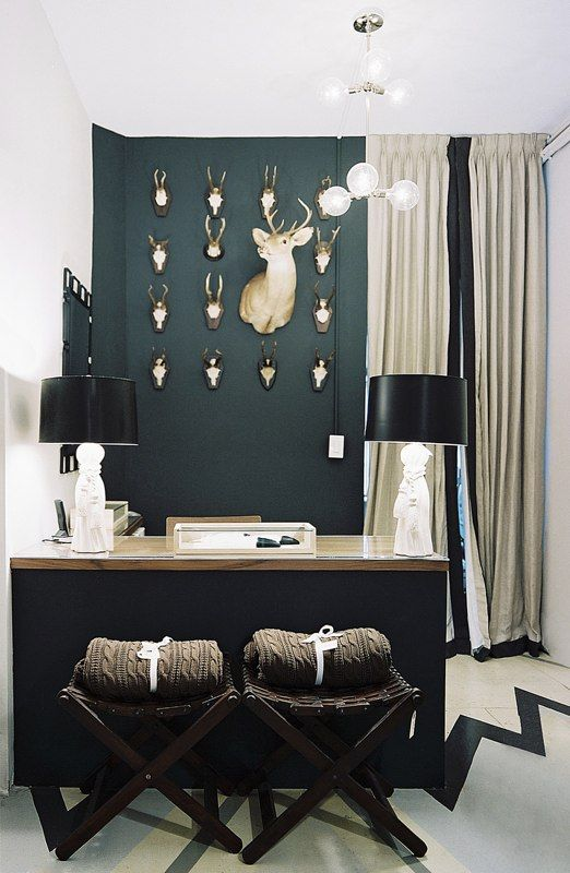 accent wall.Decor, Wall Colors, Offices, Antlers, Deer Head, Interiors Design, Dark Wall, Black Wall, Accent Wall