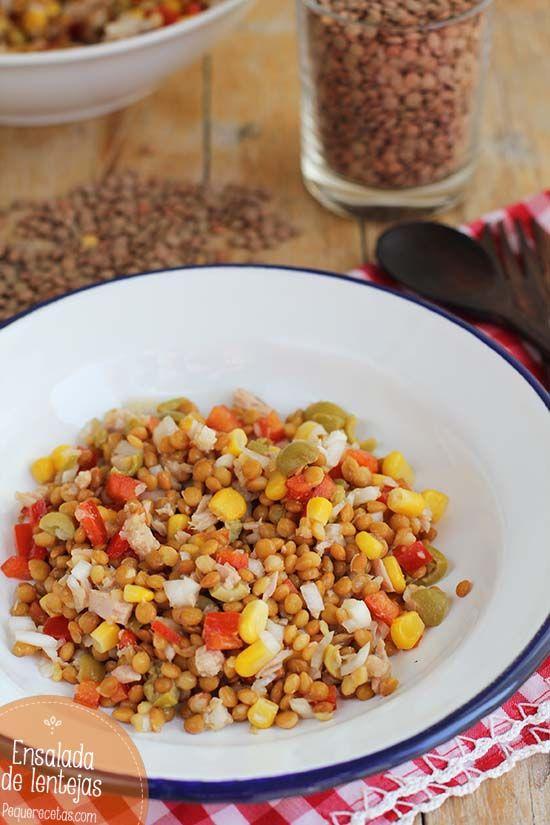 Ensalada de lentejas, ¡deliciosa! lentejas en conserva, pimiento rojo, cebolleta, aceitunas, atún al natural, maíz dulce, vinagre de manzana, sal y aceite