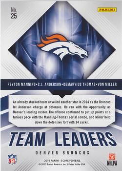 2015 Score - Team Leaders Green #25 C.J. Anderson / Demaryius Thomas / Peyton Manning / Von Miller Back