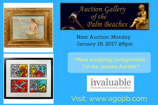 Are you searching to bid online for fine estate antiques? Auction Gallery of Palm Beach has contained unique collections of Arts & antiques, bronze, silver, Watches and more.For more info Call: (561) 805-7115