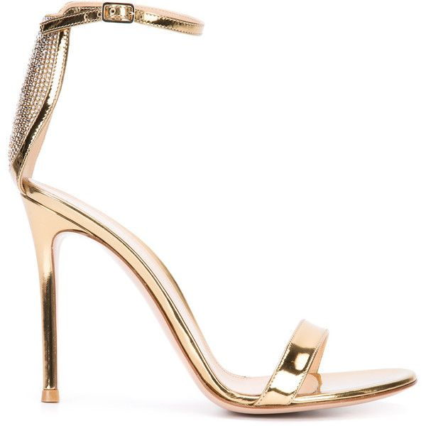Gianvito Rossi Portofino embellished heel sandals ($1,095) ❤ liked on Polyvore featuring shoes, sandals, grey, heeled sandals, embellished sandals, high heeled footwear, gray sandals and ankle strap high heel sandals