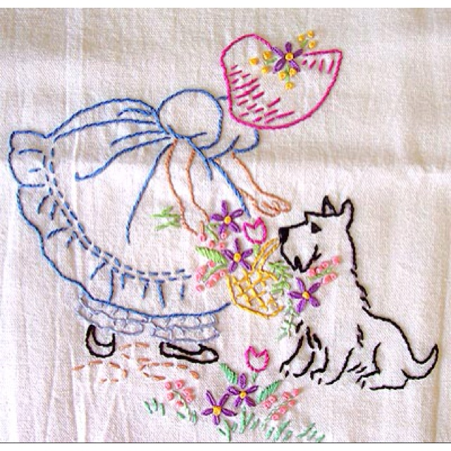 Embroidered dish towels! One for every day of the week! Does anyone do that anymore?
