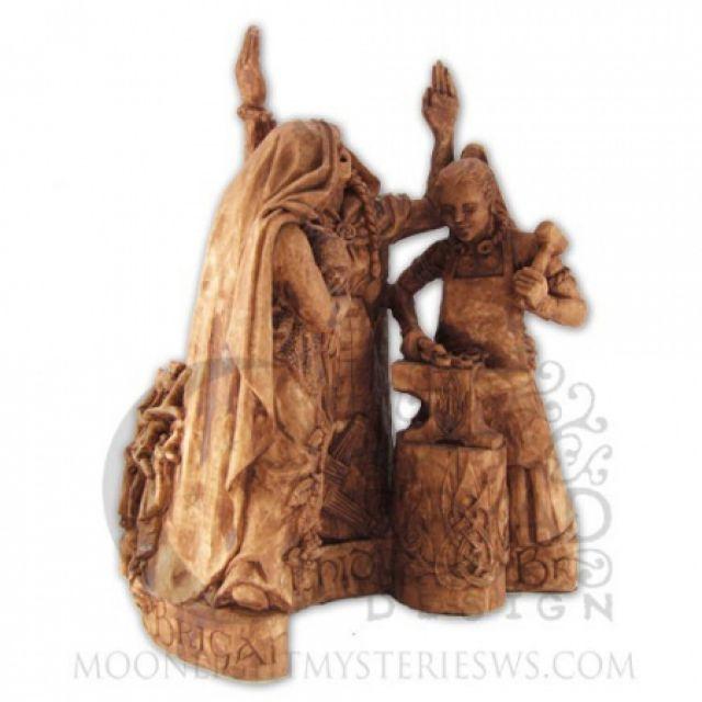 Statue - Brigid - Dreifache Göttin - Tripple Goddess - Holzoptik - Dekoration - Ritualbedarf - McOnis Handelskontor