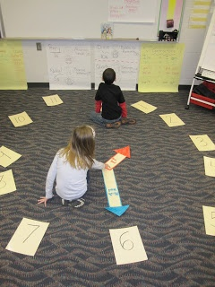 Have the students place the numbers cards on the floor, in a circle, to resemble a clock. To start the game, make the first time using the hour and minute hands.  Whoever guessed the time correctly became the next 'clockmaster'.  Teacher sits in that student's spot and they would make a new time.  Whoever guess that time correctly became the next clockmaster.