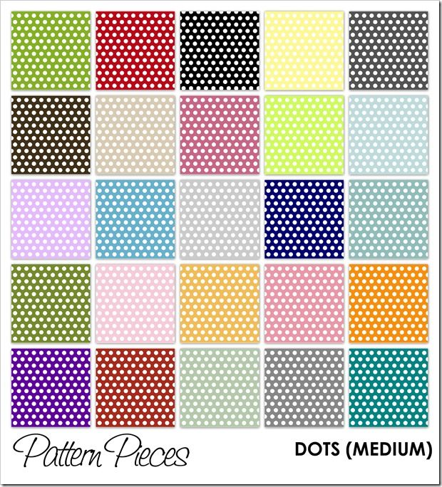 Polka dot patterned paper (small, medium, and large dots available)