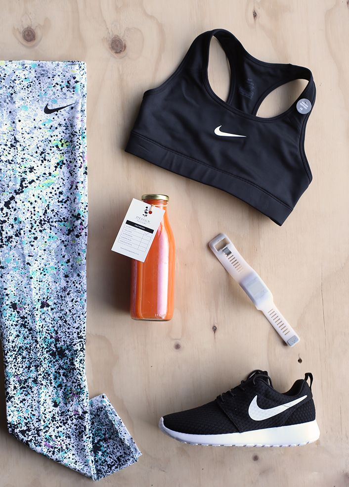Nike Crop, Fitbit watch and Tights from The Frontrunner, 24 Carot Gold pressed juice from The Design Juicery at Collective & NIke Roshe from Stencil. #retail #sportsluxe #fitness #TheColombo