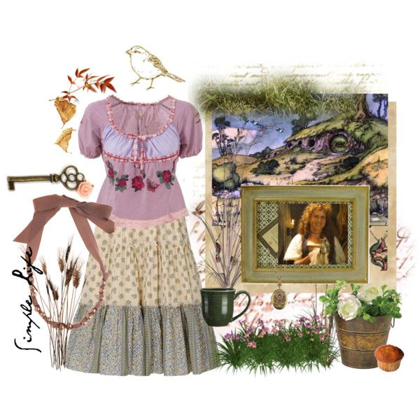 Hobbit Lass by the-artful-puppet on Polyvore featuring Odd Molly, Uniqlo, Lanvin, Cameo, Crate and Barrel, Cavallini, Waverly, Nexus, hobbits and bird