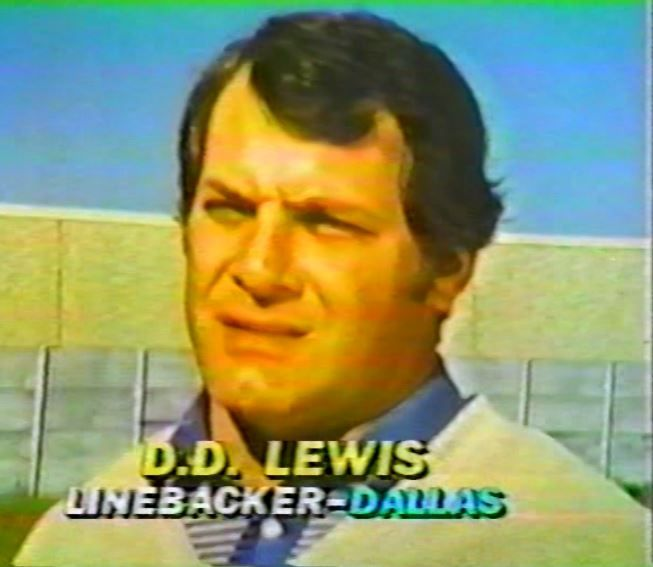 "D.D. LEWIS (50) interviewed on ""The NFL Today"" for their Thanksgiving game episode--November 26, 1981"