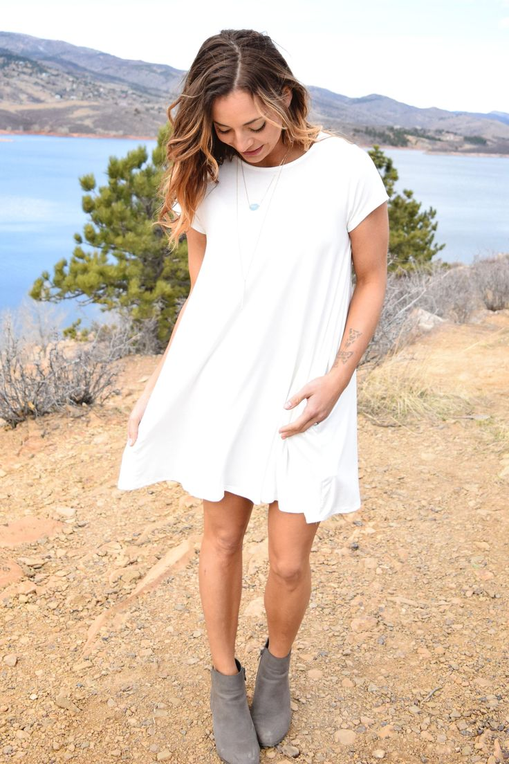 "** RESTOCK ** Who doesn't love a great tee shirt dress? This bright white color and the simple cut make the new ""Rocky Mountain Tee Shirt Dress"" a great basic for your spring wardrobe! Jackets, kimono"