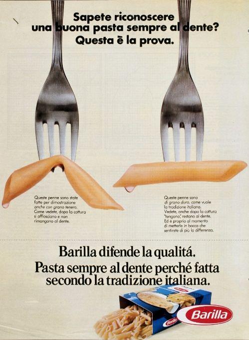 1976, Barilla's 'al dente' pasta stems from Italian tradition.