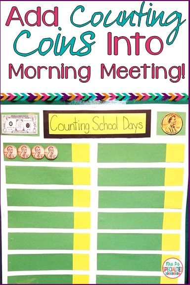 How To Incorporate Money Concepts In Morning Meeting: Here is an easy and quick way to fit in another opportunity to practice coin identification and  counting coins. This is perfect for any special education classroom, life skills program, self-contained classroom or kindergarten class.