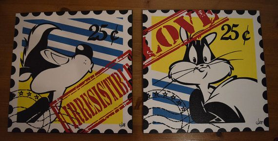 Pepé Le Pew & Penelope Kitty Post Stamp - pop art canvas dipinto a mano - 40x40 cm each canvas