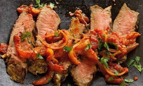 Yotam Ottolenghi's harissa-marinated beef sirloin with preserved lemon sauce
