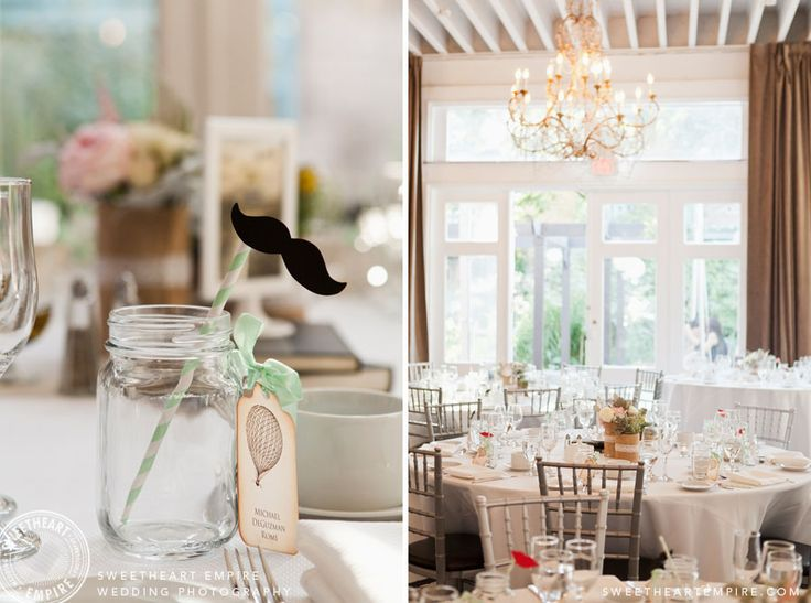 Berkeley Fieldhouse Summertime Decor in muted tones. Moustache straw in a mason jar. Toronto Wedding Photography #sweetheartempirephotography
