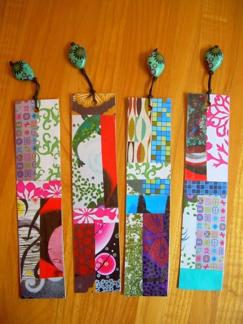 by Polymer Play, via Flickr - segnalibri realizzati con carta e cartone riciclati