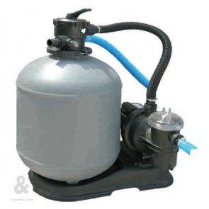 Equipo filtración monobloc con filtro de arena y bomba, Toi.  El conjunto de filtración ( filtro + bomba) es una solución fácil y rápida para la limpieza del agua de su piscina. Se compone de un filtro de arena con válvula selectora incorporada y una bomba.