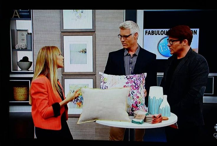 "Oooh fun! A screenshot of my Ebi Emporium ""Dance of the Sakura"" velveteen throw pillow on the Steven and Chris TV show on CBC in October 2013. #StevenandChris #EbiEmporium #CBC #Canadian #tv #throwpillow #pillow #velveteen #cushion #decor #interiors #decorative #colorful #feminine #fineart #pillowcover #style #stylish #homedecor"