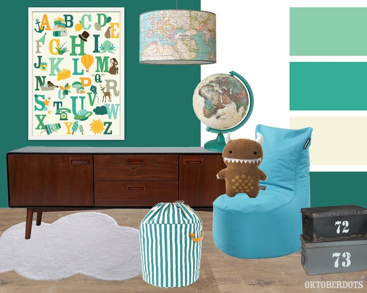 Very cool #kidsroom #boysroom #interior collage with #colorscheme for real adventurers and an Alphabet poster by Oktoberdots