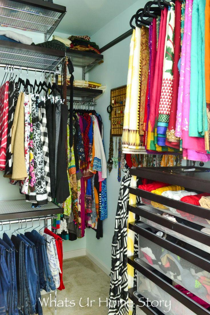 small walk in closet makeover blogger home projects we love elfa closet walk in closet closet. Black Bedroom Furniture Sets. Home Design Ideas