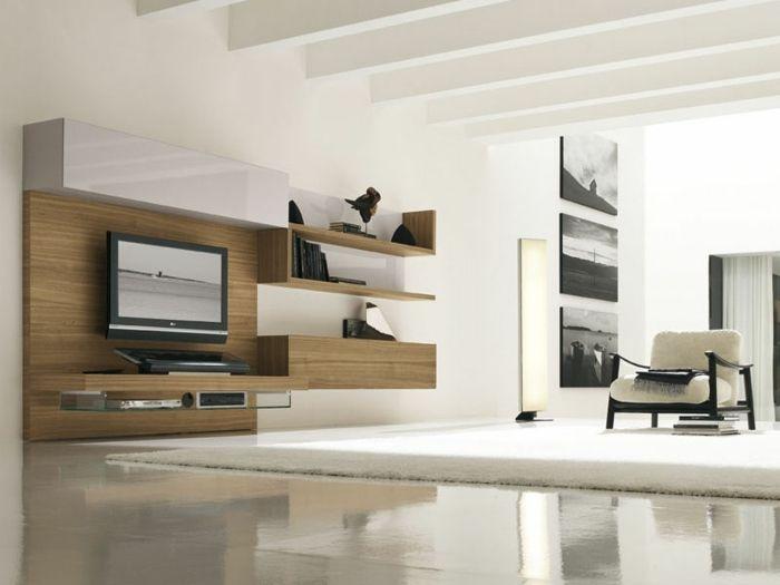Wohnwand modern mit Holz Optik Wohnzimmer Pinterest Wohnwand - wohnzimmer modern dekorieren