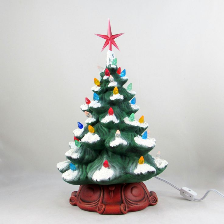 Medium Ceramic Classic Christmas Tree with RedBase-13 inches with base, hand made, painted, pine tree by aarceramics on Etsy