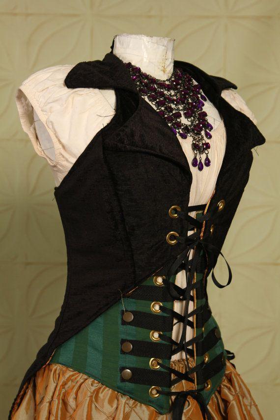 Waist 26 to 28 Emerald Stripe Steampunk Wench Corset. $89.00, via Etsy.
