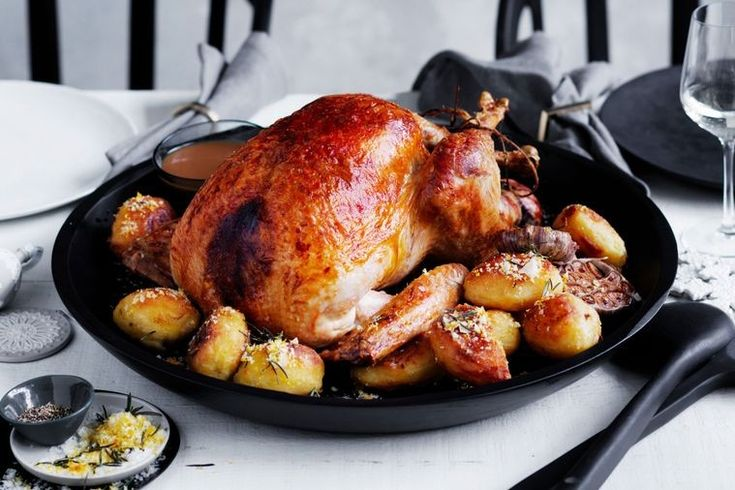 Turkey with fruit stuffing and duck fat potatoes