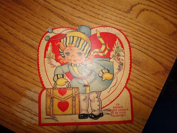 "Vintage 1940s VALENTINE Card GIRL Luggage 6 1/4 X 5 7/8"""
