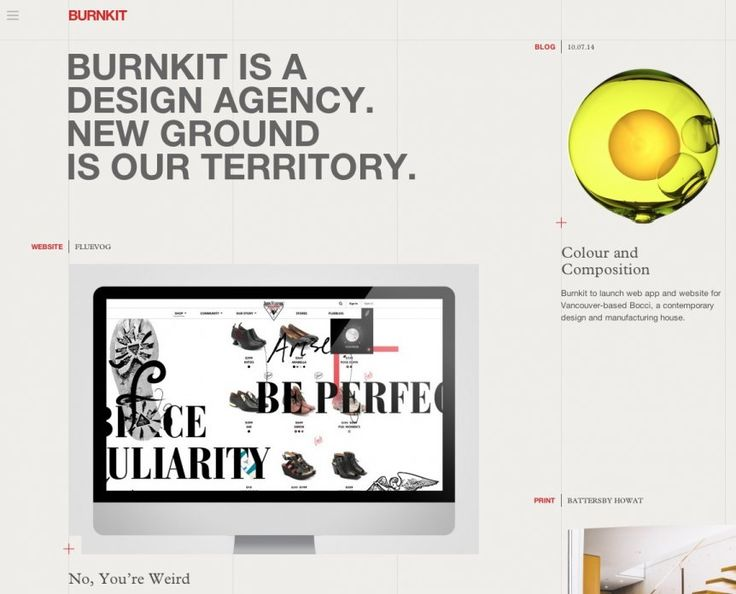 Burnkit's site gets the tightly-stacked, all-caps Helvetica headlines just right