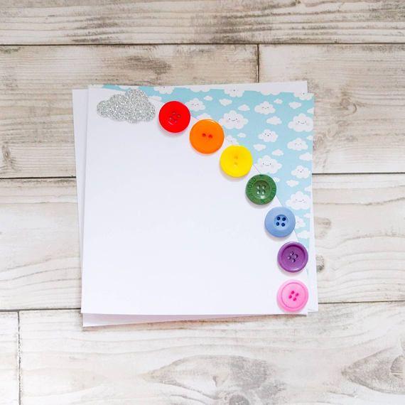 Gorgeous handmade rainbow button card with glitter cloud  any