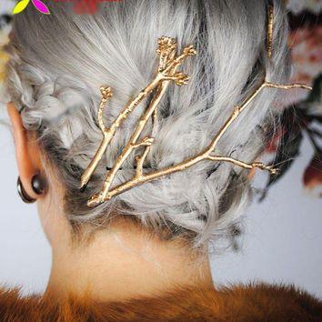 Runway Fashion Gold Branch Hair Clip Hairpin Wedding Barrette