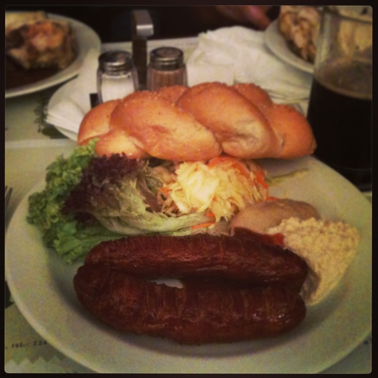 Sausage and home brew at U Fleku - our last night in Prague = dinner and beer with my brothers. Prague, Czech Republic