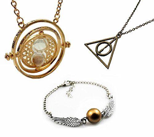 [Paket von 2 Halsketten + 1 Armband] CuteEdison® Harry Potter inspiriert golden Zeitumkehrer von Hermione Granger + Bronze das Symbol von der Heiligtümer des Todes Halsketten mit Anhänger + Gold Snitch mit Silber doppelseitigen Flügel Armband - Geschenksc